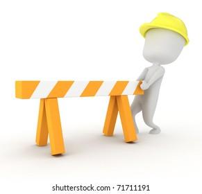 3D Illustration of a Man Putting Up a Barrier
