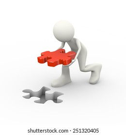 3d illustration of man putting solution red puzzle piece. Concept of problem solution, goal achievement, success.  3d human person character and white people