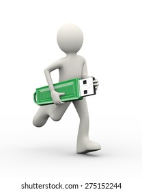 3d illustration of man running with usb flash drive. 3d human person character and white people