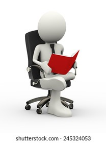 3d illustration of man sitting on business chair reading book . 3d human person character and white people