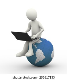 3d illustration of man sitting on world map globe working with laptop. 3d human person character and white people