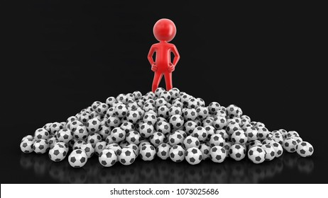 3d Illustration. Man with Soccer footballs. Image with clipping path.