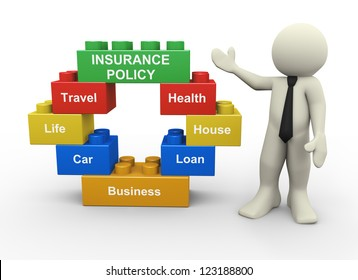 3d illustration of man standing with circular shape toy blocks representing type of insurance policy