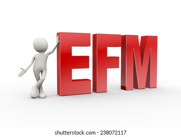 3d illustration of man standing with efm enterprise feedback management. 3d human person character and white people