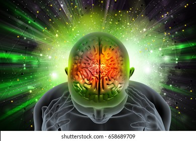 3d illustration of Man suffering migraine