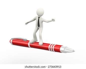 3d illustration of man surfing pen. 3d human person character and white people