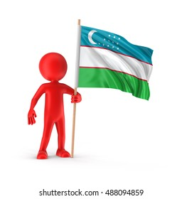 3D Illustration. Man and Uzbek flag. Image with clipping path