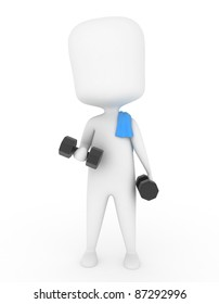 3D Illustration of a Man Working Out