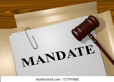 "3D illustration of ""MANDATE"" title on legal document"