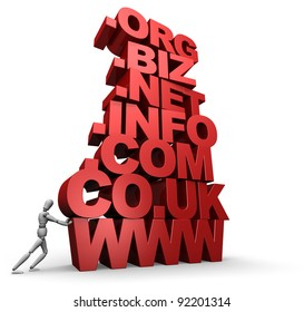 3D illustration of a mannequin pushing a tall stack of web site / internet domain terms. - 3D illustration isolated on white background.