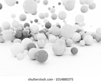 3d illustration of many balls falling on white background