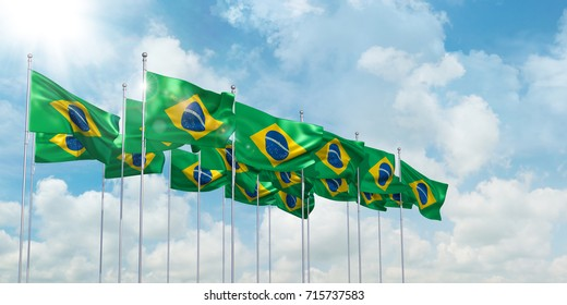 3d Illustration of many flags of Brazil in rows waving in the wind against blue sky