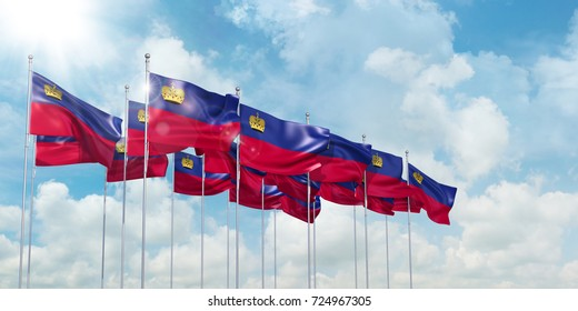 3D Illustration of many flags of Liechtenstein in rows waving in the wind against blue sky