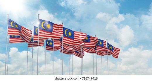 3d Illustration of many flags of Malaysia in rows waving in the wind against blue sky