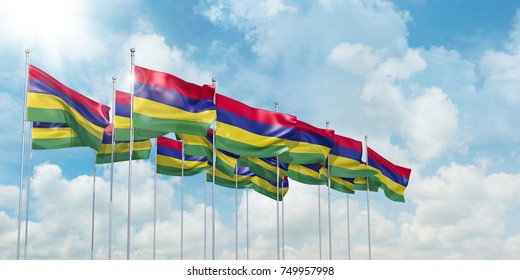 3d illustration of many flags of Mauritius in rows waving in the wind against blue sky