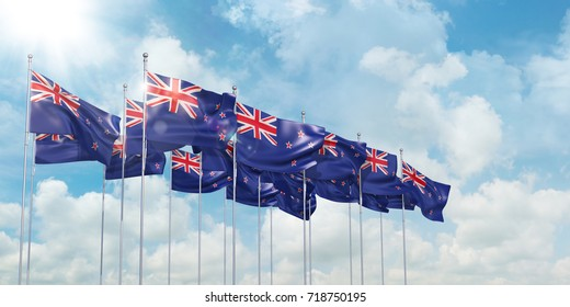 3d Illustration of many flags of New Zeeland in rows waving in the wind against blue sky