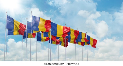 3d Illustration of many flags of Romania in rows waving in the wind against blue sky