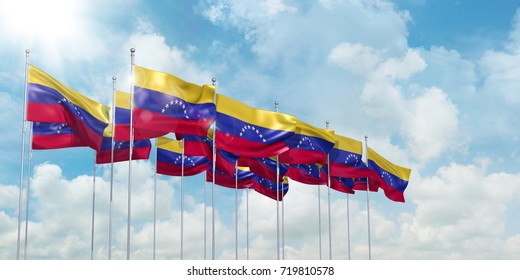 3d Illustration of many flags of Venezuela in rows waving in the wind against blue sky
