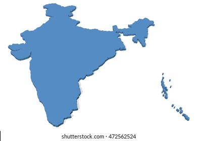 3D illustration of the map of India on a plain background