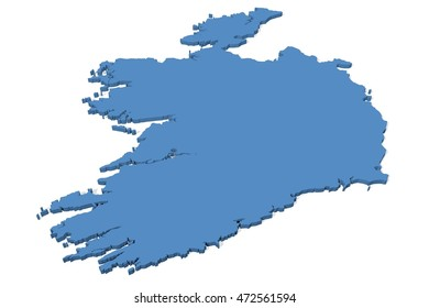 3D illustration of the map of Ireland on a plain background