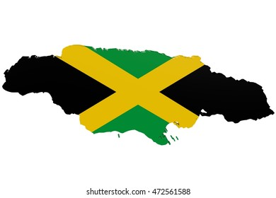 3D illustration of the map of Jamaica in the colors of the national flag