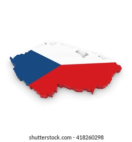 3D Illustration Map Outline of the Czech Republic with the Czech Flag