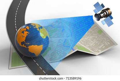 3d illustration of map paper with earth globe and