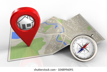 3d illustration of map paper with home pin and