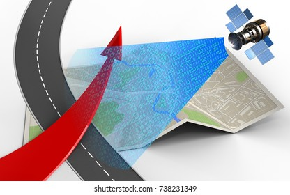 3d illustration of map paper with red arrow and