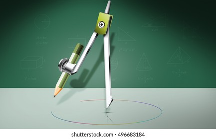 3D Illustration, Math compass with pencil, drawing geometric instruments