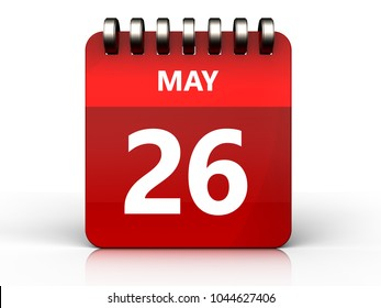 3d illustration of may 26 calendar over white background