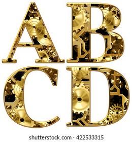 3D illustration Mechanical Gears Cogs Alphabet.