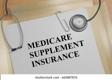"3D illustration of ""MEDICARE SUPPLEMENT INSURANCE"" title on a medical document"