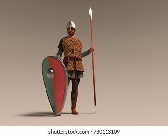 3d illustration of a medieval soldier