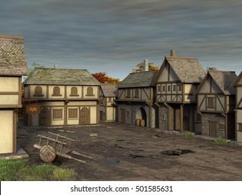3d illustration of a medieval village