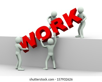 3d illustration of men working together and placing word work.  3d rendering of human people character and concept of team work