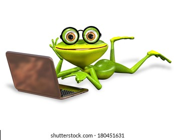 3d illustration merry green frog with notebook