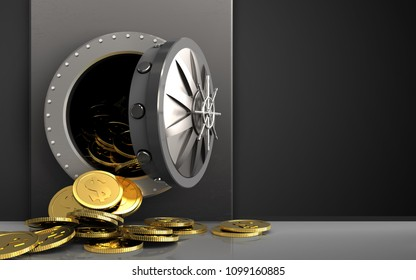 3d illustration of metal box with dollar coins over black background