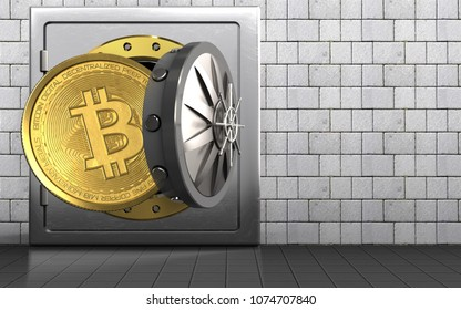 3d illustration of metal safe with bitcoin over white stones background