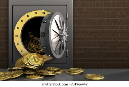 3d illustration of metal safe with bitcoins heap over bricks background