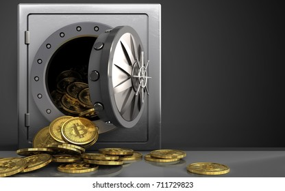 3d illustration of metal safe with bitcoins heap over black background