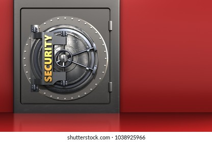 3d illustration of metal safe with security door over red background