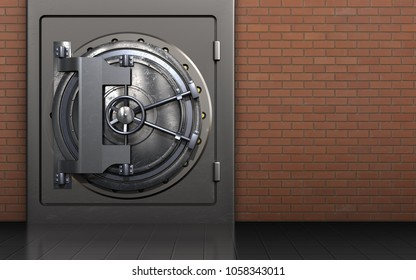 3d illustration of metal safe with steel door over red bricks background