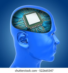 3d illustration of microchip inside head over blue background
