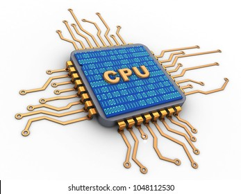 3d illustration of microchip over white background with cpu sign and binary code inside