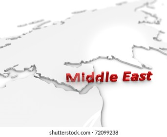 3d illustration, Middle east region map. on white.