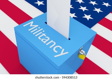 "3D illustration of ""Militancy"" script on a ballot box, with US flag as a background."
