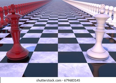 3d illustration: military-political concept. Chess field with figures of kings, leaders of their troops, red white colors are lined up opposite each other.
