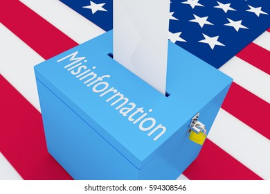 "3D illustration of ""Misinformation"" scripts on a ballot box, with US flag as a background."