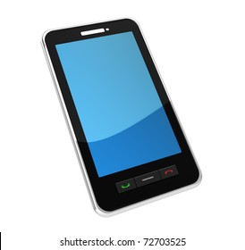 3d illustration of mobile phone, isolated over white